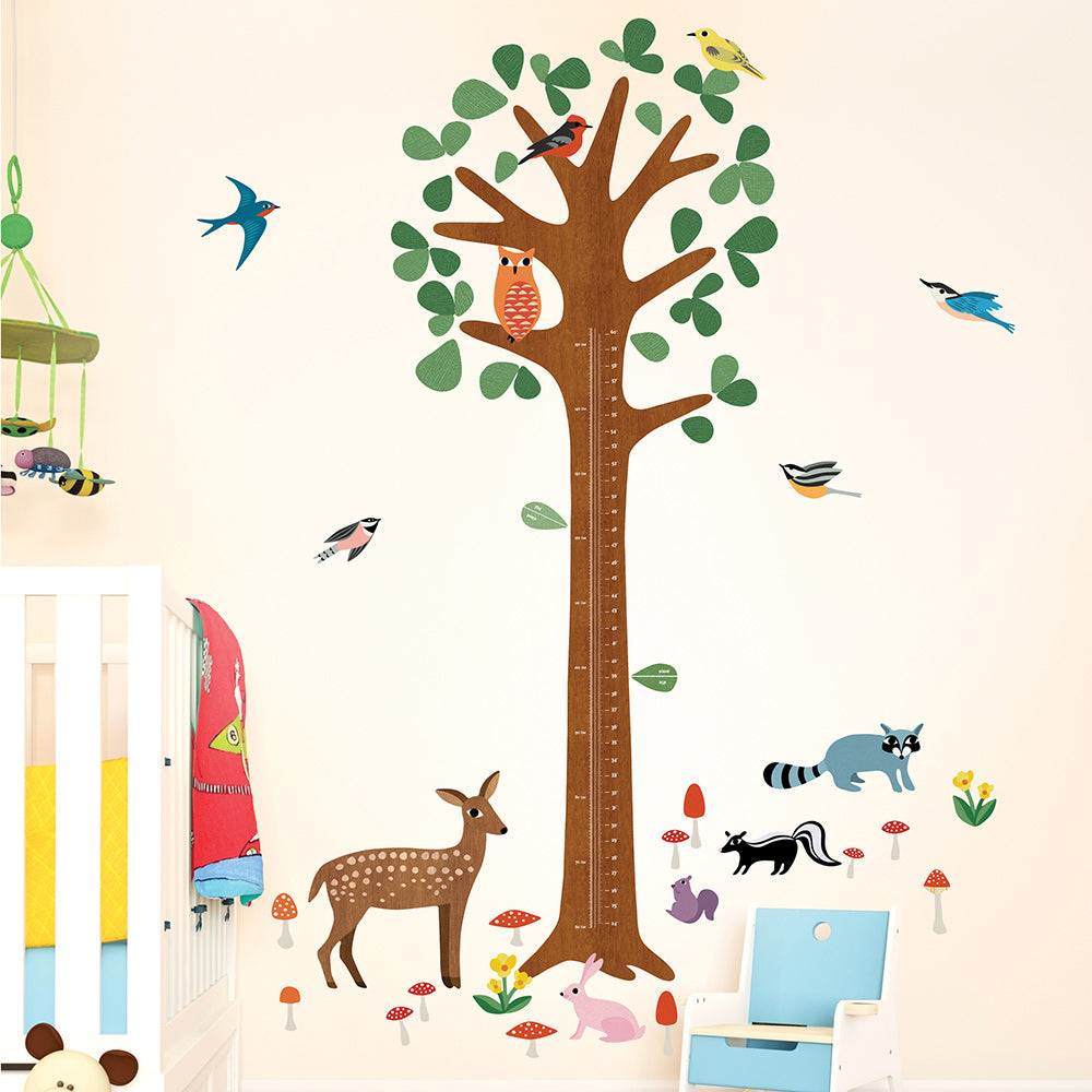 children's woodland growth height chart wall stickers