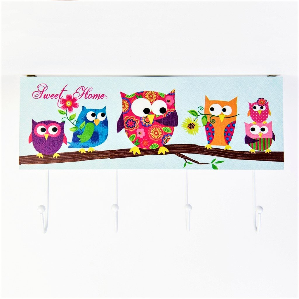 children's woodland owl 4 coat hook