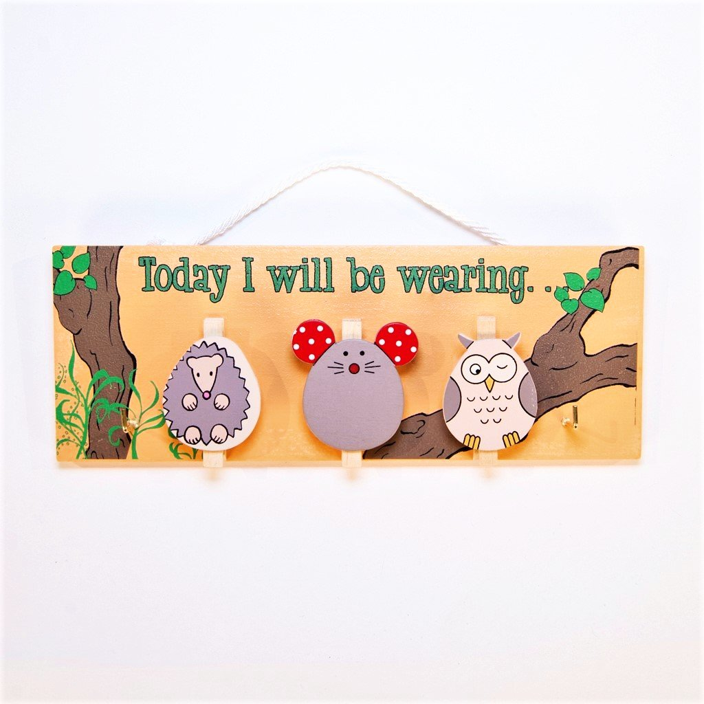 children's educational woodland owl today i will be wearing pegboard