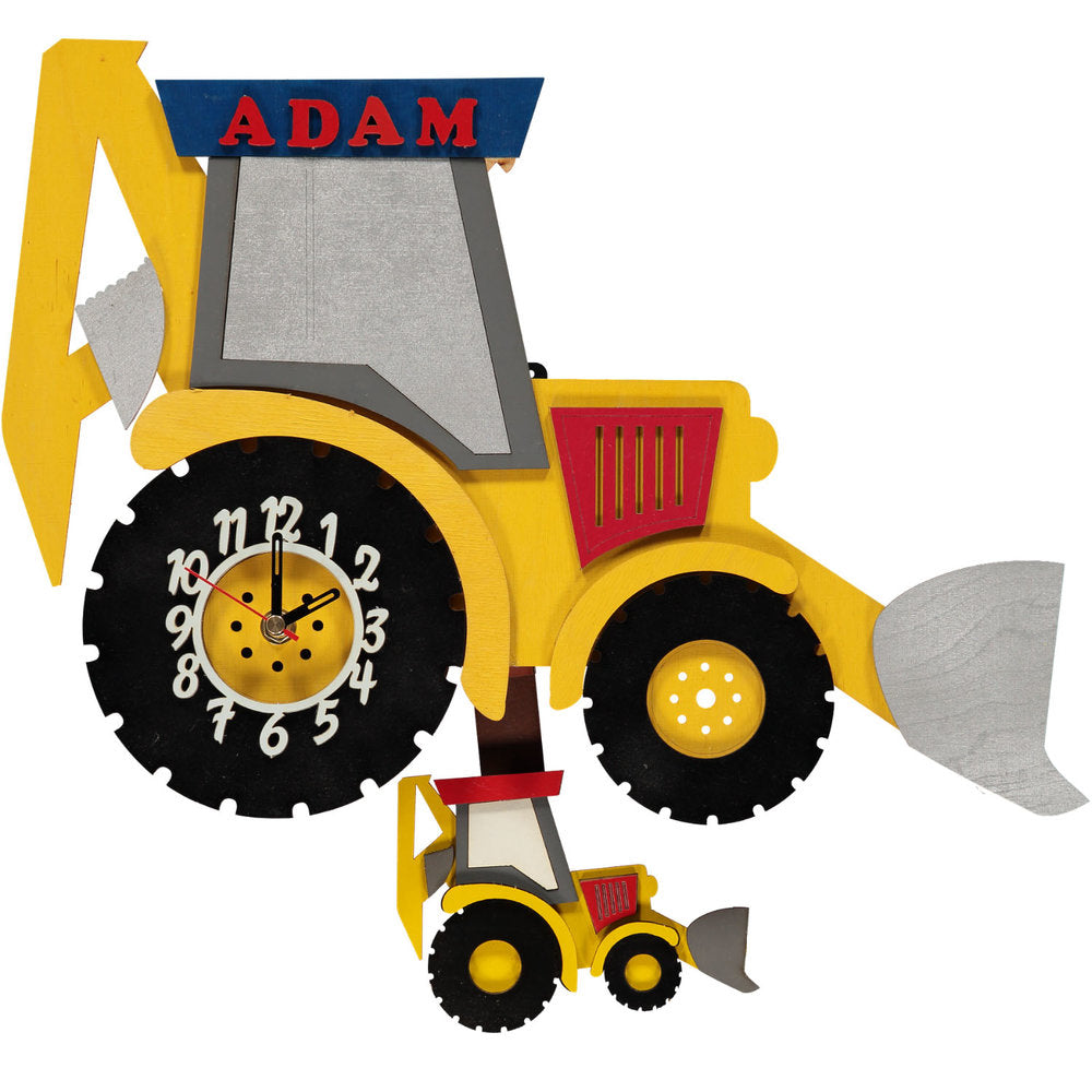 childrens yellow digger pendulum clock