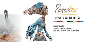 Powertex fabric hardener and Universal Medium for Mixed Media artists, Fiber artists and Sculptors.
