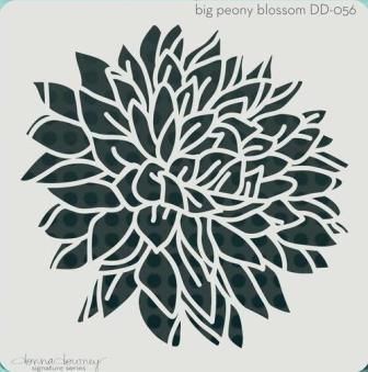Powertexcreations - Peony - Donna Downey signature stencil for Mixed Media and scrapbooking