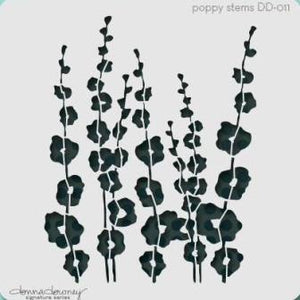 Powertexcreations - Poppy stems stencil Donna Downey for Mixed Media