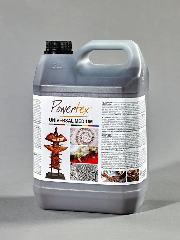 Powertex fabric hardener Bronze 5000gr - hardens almost all natural materials and can be used for fiber art, sculpting and mixed media distributed in the United States by Powertexcreations