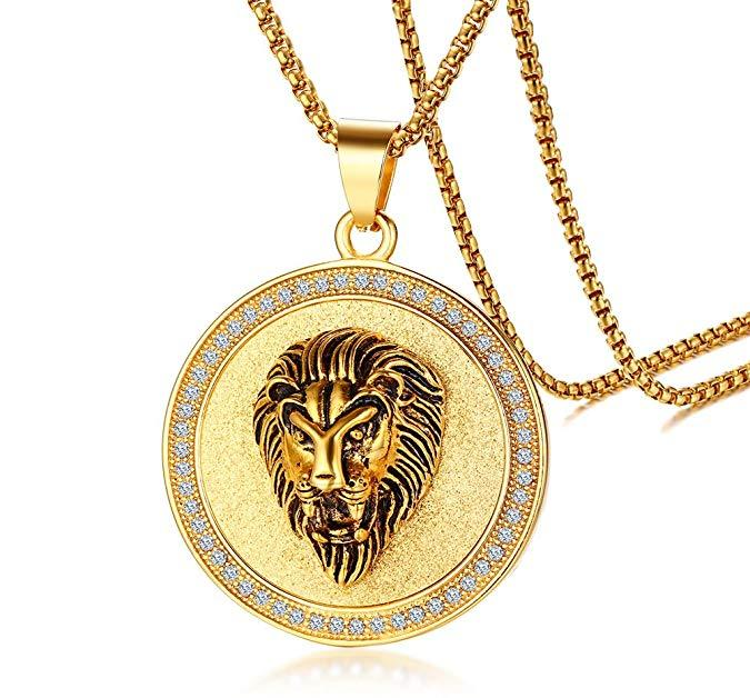 King of the Jungle Lion Pendant Medallion Necklace in 18K Gold Plated