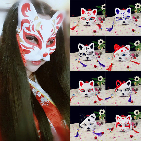 Anime Half Face Fox Mask Hand-Painted Kitsune