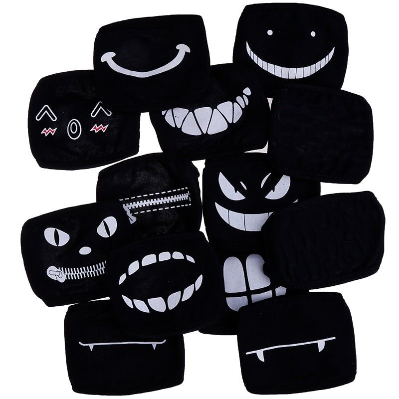 Black Anime Expression Masks