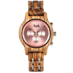 Edith Collection | Wooden & Metal Pink Sustainable Watch | Trek Watches
