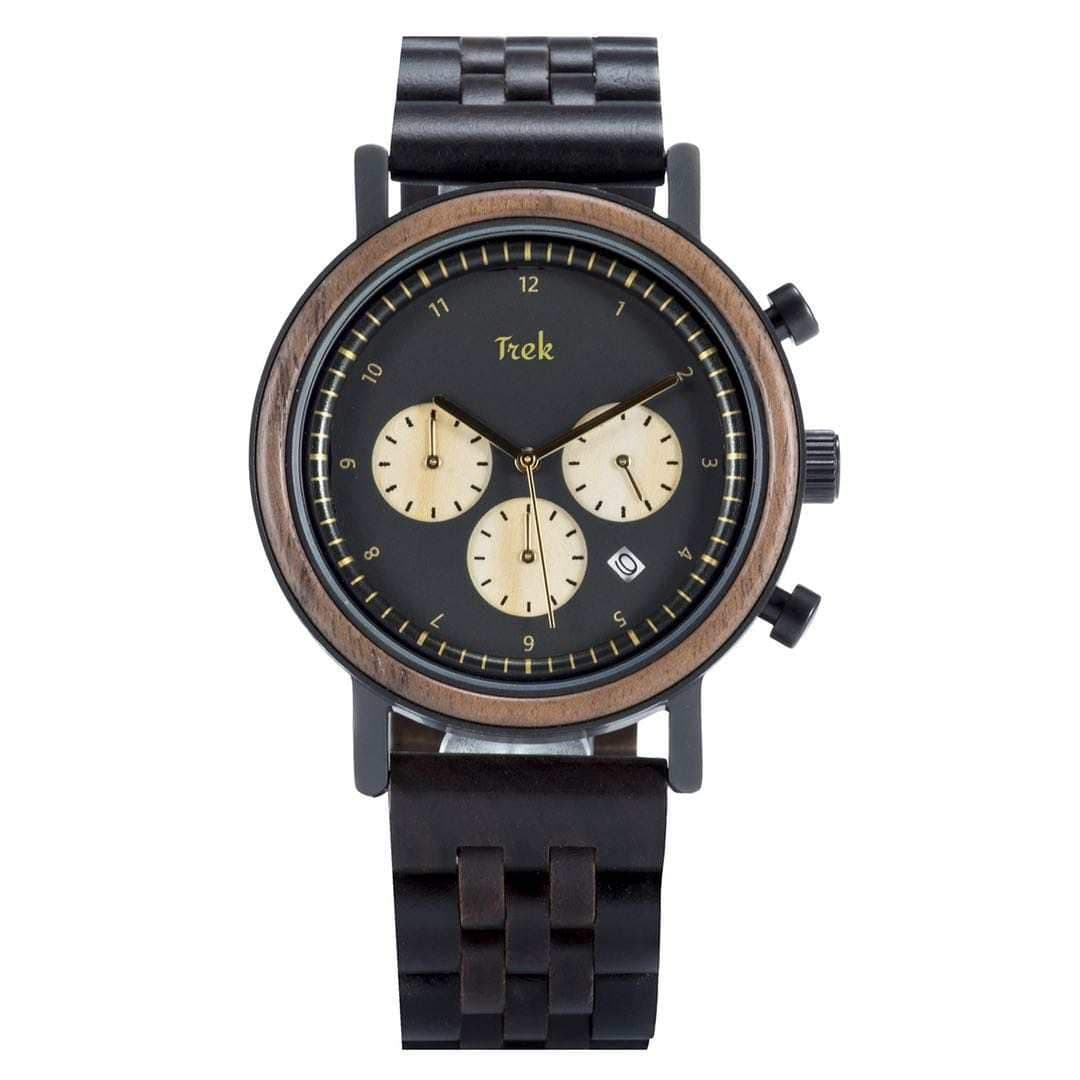 Darwin Men's Luxury Chronograph Wood Watch (Black) - Trek Watches