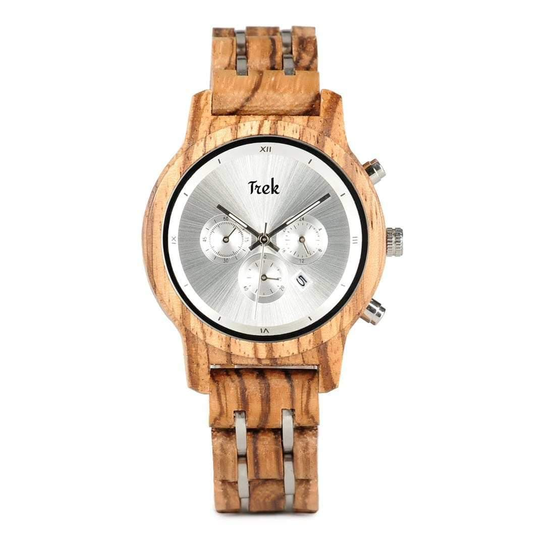 Edith Women's Luxury Chronograph Wood Watch (Pearl Silver) - Trek Watches