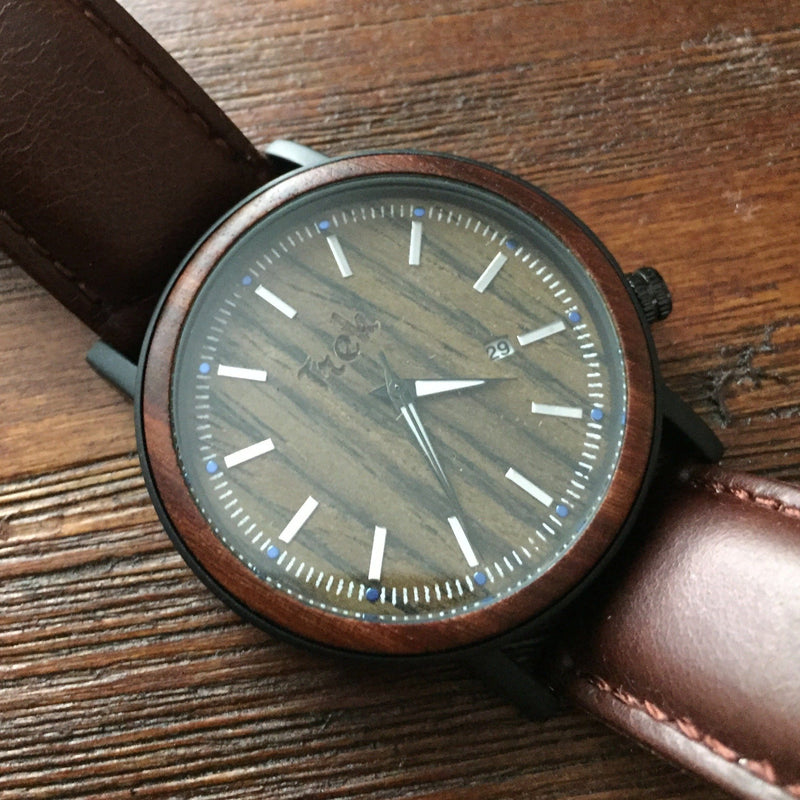 McAlister Men's Luxury (Brown) Wrist Watch with Wood Watch Face - Trek Watches