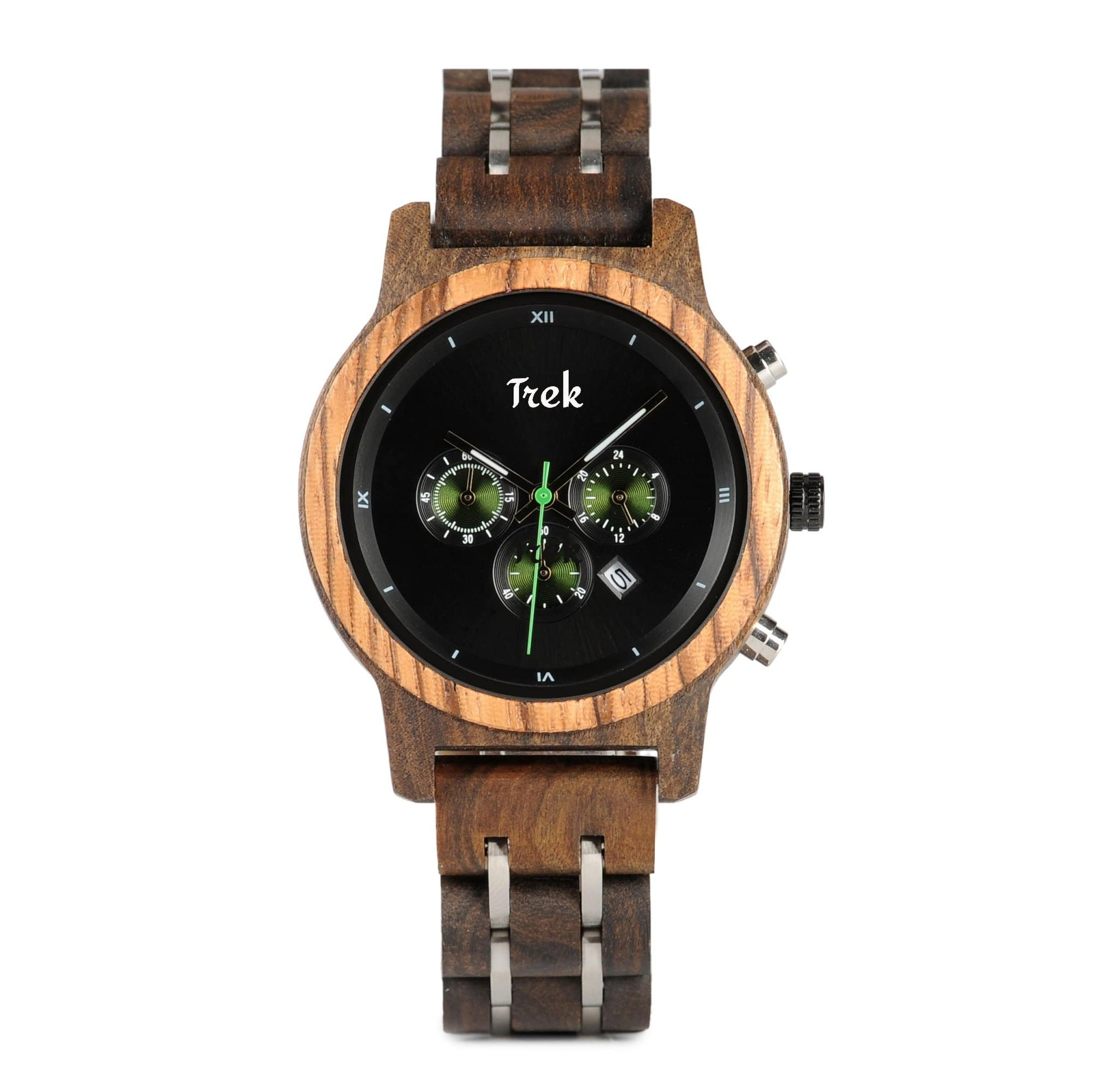 Edith Women's Luxury Chronograph Wood Watch (Ebony Black) - Trek Watches