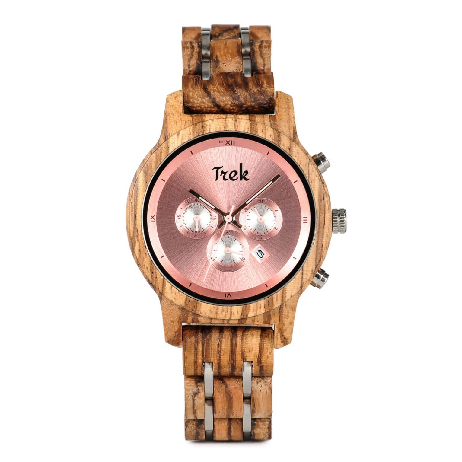 Edith Women's Luxury Chronograph Wood Watch (Rose Pink) - Trek Watches