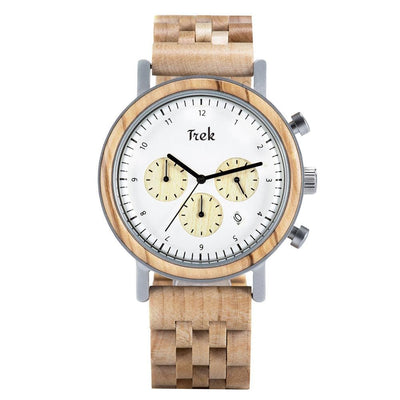Darwin Men's Luxury Chronograph Wood Watch (Light Brown) - Trek Watches
