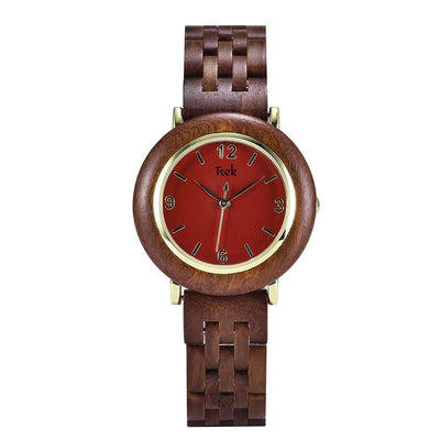 Claire Luxury Women's Wood Watch (Ruby Red) - Trek Watches