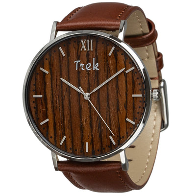 Alouette Luxury Men's Wrist Watch with Wood Watch Face (Brown) - Trek Watches