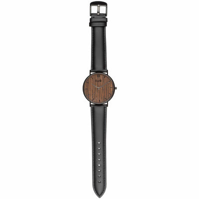 Alouette Luxury Men's Wrist Watch with Wood Watch Face (Black) - Trek Watches