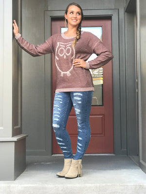 Mitzi Owl Sweater, Burgundy