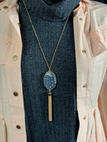 Geode Tassel Necklace Black