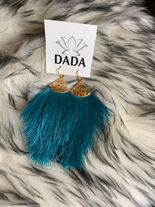 Tassel Earrings, Teal