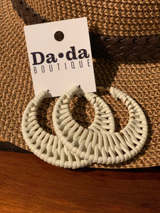 Woven Leather Hoops Cream