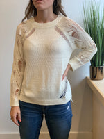 Latoya Tattered Sweater, Cream