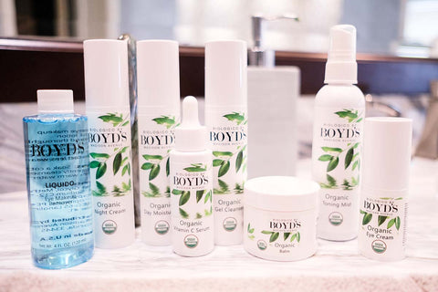 Boyd's Organic Skincare in White Packaging