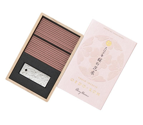 Oedo-Koh Cherry Blossom Japanese Incense in a light pink box