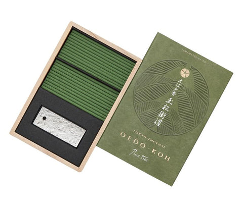 Oedo-Koh Pine Tree Japanese Incense in a green box