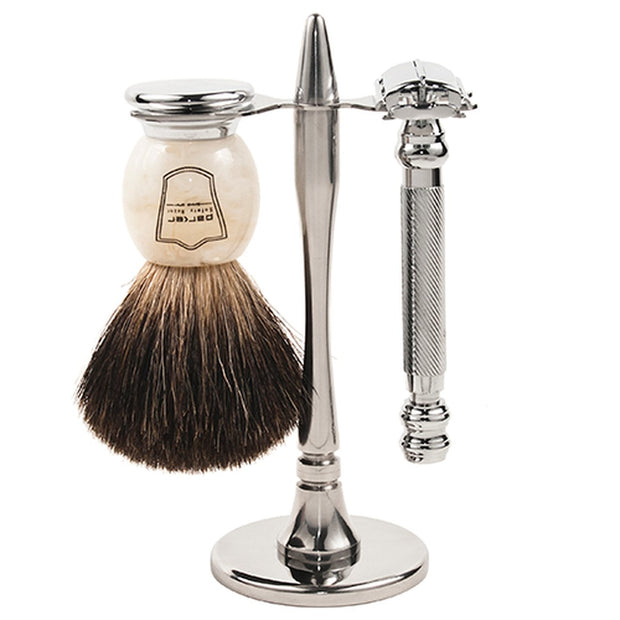 Parker 99R Heavyweight Butterfly Razor & Deluxe Black Badger 3-Piece Shave Set - Boyd's Madison Avenue