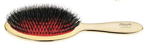 Janeke Pneumatic Mixed Bristle Brush with Nylon and Boar Bristles, Gold