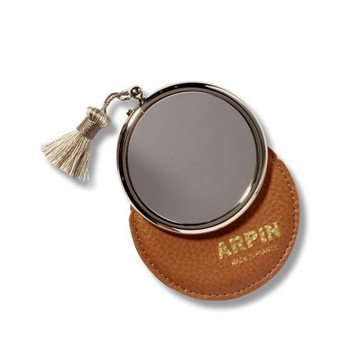 Arpin nickel Handbag Magnifying Mirror with tassel in Case
