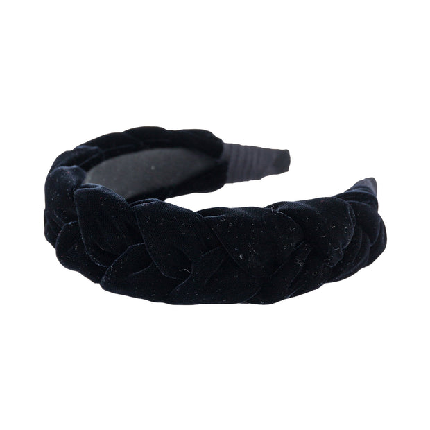"Anna Fashion Headband 1.5"" wide velvet braid in black"