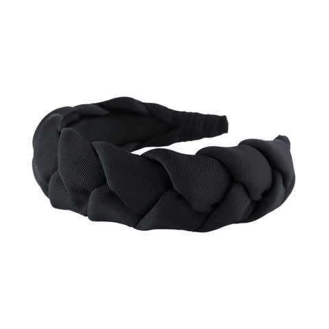 "Braided 1.5"" wide grosgrain headband in Black by Anna Fashion"