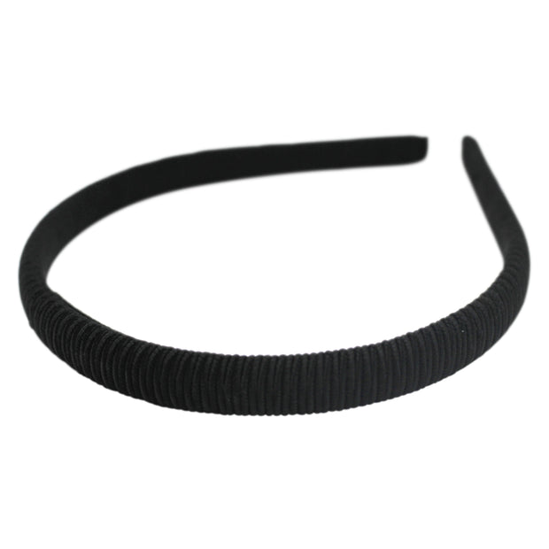 "1/2"" headband by Anna Fashion made of corded silk in black"