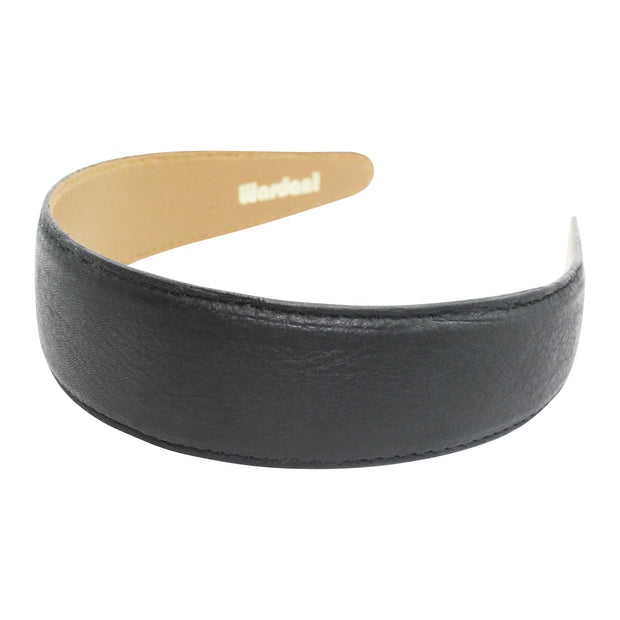 "Wardani 1 1/2"" Wide Pebble Grained Italian Leather Headband"