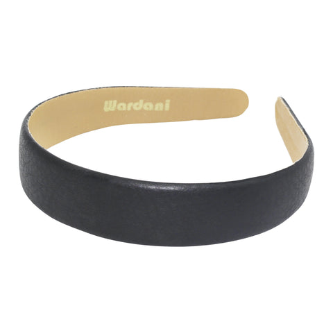 "1"" leather headband black"