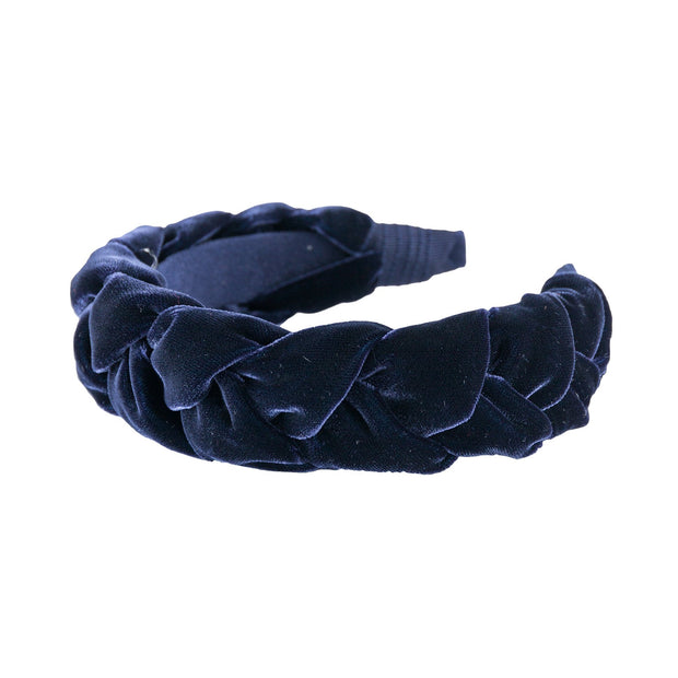"Anna Fashion Headband 1.5"" wide velvet braid in navy blue"
