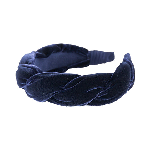 "Anna Fashion Headband, Velvet, Twist 1.5"" Wide in navy blue"