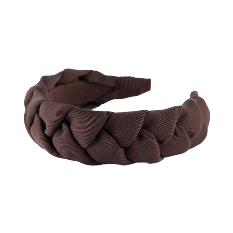Anna Fashion braid headband grosgrain dark brown