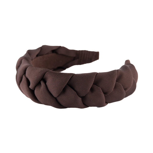 "Braided 1.5"" wide grosgrain headband in Dark Brown by Anna Fashion"