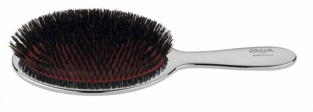 Janeke Large Paddle Brush with Mixed Bristle in Chromium