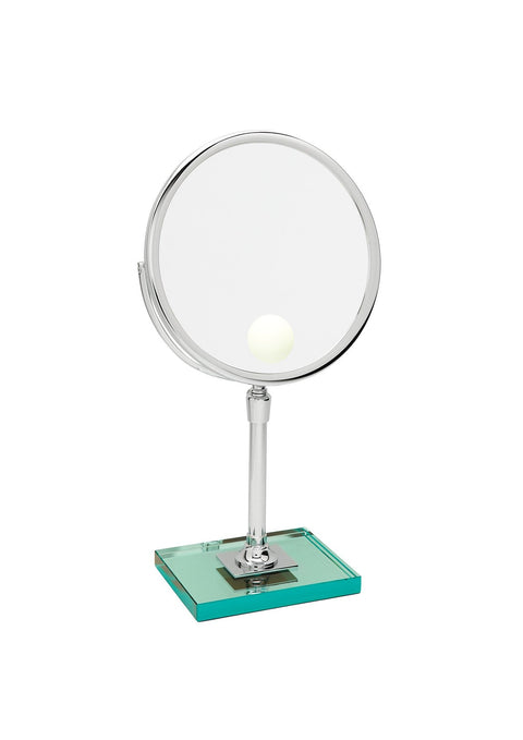 Brot Elegance 24 Spot Illuminated Magnifying Vanity Mirror on a Glass Pedestal, 9 1/2 Inches in Diameter