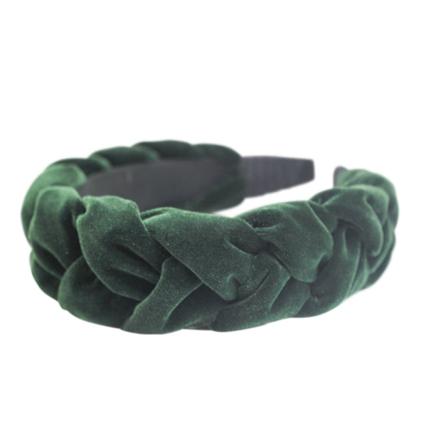 "Anna Fashion Velvet braid headband 1.5"" Emerald Green"