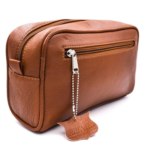 Parker Saddle Brown Leather Toiletry Bag - Boyd's Madison Avenue