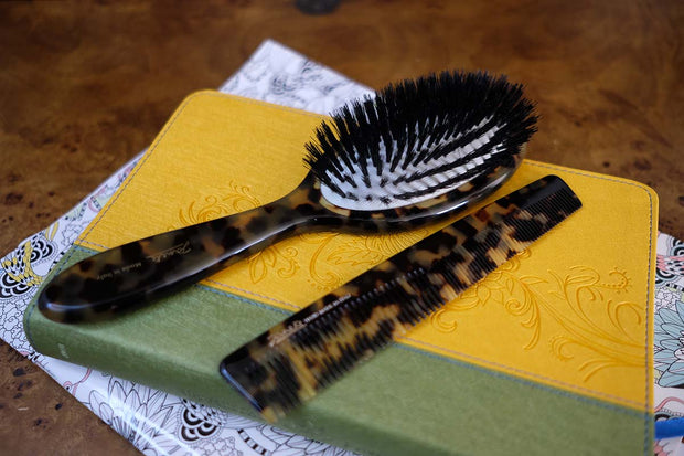 Janeke Handmade Spotted Family Hairbrush with Natural Bristles, 8 3/4 Inches