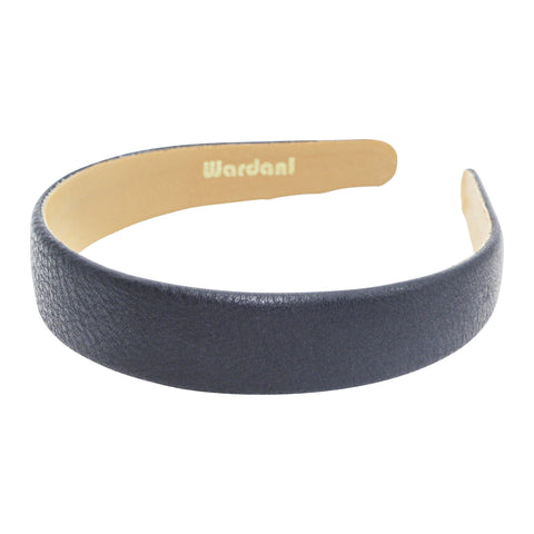 "1"" leather headband in navy"