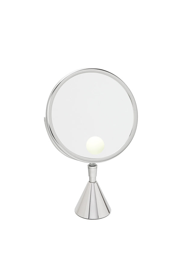 Brot PETITE ELEGANCE 24 Spot Illuminated Adjustable Vanity Mirror on Pedestal, 9 1/2 Inch Diameter