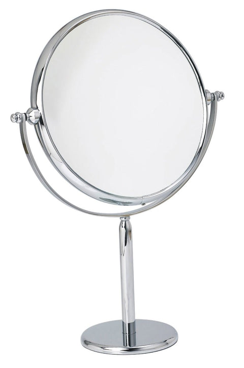 "Arpin pedestal double sided magnifying mirror in chrome 7X or 9X, 7.5"" diameter"
