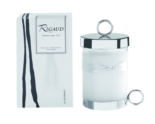 Rigaud Gardenia Candle, Large with Lid, 230g, 90 Hour of Fragrance